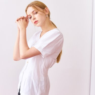 LINEN TUCKED SHIRTS_WHITE