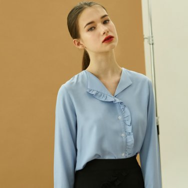 frill open shirts_skyblue