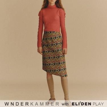 [분더캄머:WNDERKAMMER] Jacquard Flower Skirt_Black (WK9F9-JFSK030)