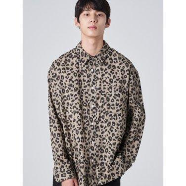 남성 브라운 솔리드 레오파드 패턴 셔츠 (269864DA1D)
