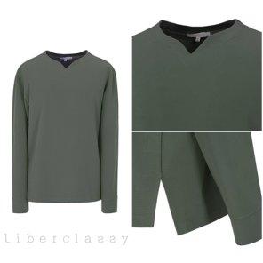 리버클래시(DJ) 카키 브이넥변형 롱슬리브 세미루즈핏 티셔츠 LGS41408