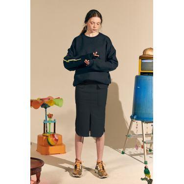 [테이즈] New Pile Cotton Skirt_Navy