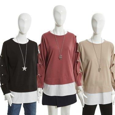 진주 장식 레이어드 스타일 티셔츠(GHBN0TSJ0)