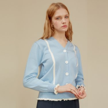 LINE SHIRRING CARDIGAN_SKY BLUE