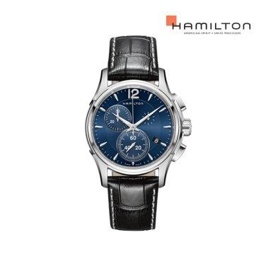 H32612741 재즈마스터 크로노 쿼츠 42mm 블루 다이얼 블랙 소가죽 남성 시계