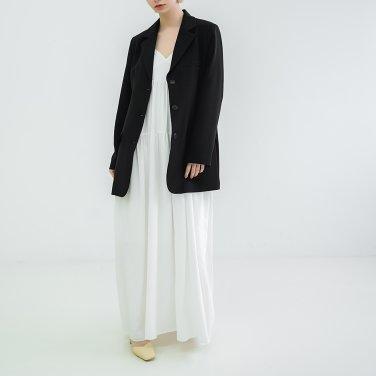 Shoulder strap Sleeveless Dress White(BSOP320_01)