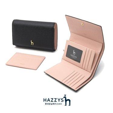 [선물포장]HIWA0E603BK_블랙 가죽 골드퍼피 로고 레터링 3단 중지갑