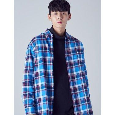 남성 스카이 블루 체크 플란넬 코튼 포켓 셔츠 (268964WY1Q)