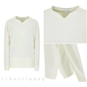 리버클래시(DJ) 화이트 브이넥변형 롱슬리브 세미루즈핏 티셔츠 LGS41407
