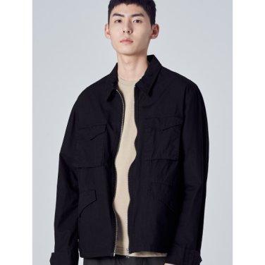 남성 블랙 플랩 포켓 집업 야상 재킷 (269239DY25)