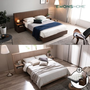 [비밀특가] 밀레 호텔 평상형 침대 K (하이유로탑매트/협탁포함)