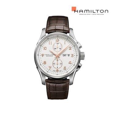 H32766513 재즈마스터 마에스트로 45mm 화이트 / 브라운 가죽 남성 시계