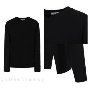 리버클래시(DJ) 블랙 브이넥변형 롱슬리브 세미루즈핏 티셔츠 LGS41406