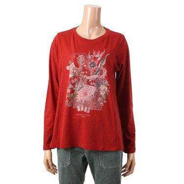 [여성] A라인 플라워 아트웍 티셔츠(T186MTS137W)