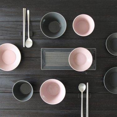 로얄애덜리 모노톤 2인 9p 그릇세트 (차콜&핑크)