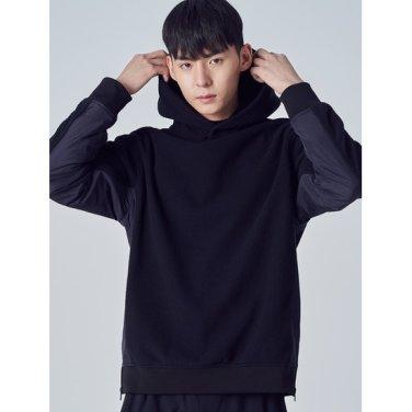 남성 [ACTIVE8] 블랙 사이드 지퍼 후드 티셔츠 (428Y41WA45)