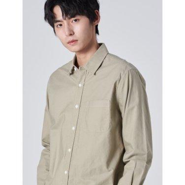 남성 카키 솔리드 옥스퍼드 코튼 포켓 셔츠 (429764LY1H)