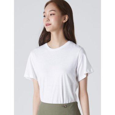 여성 아이보리 코튼 포인트 슬릿 라운드넥 티셔츠 (329742LY10)