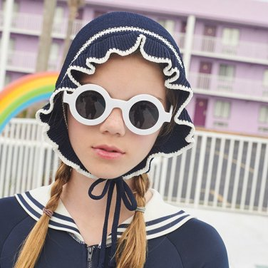 (CH-19372) KNIT FRILL SWIMMING CAP NAVY