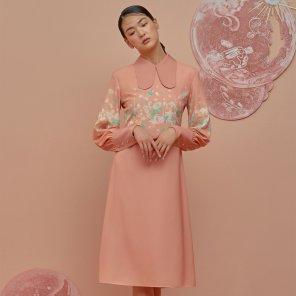 GOCORI Collar Dress-Salmon Pink