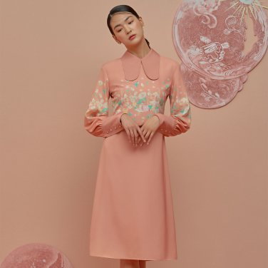 GOCORI Collar Dress-Salmon Pink