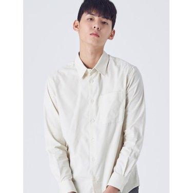 남성 화이트 코튼 코듀로이 포켓 셔츠 (228X64WYC1)