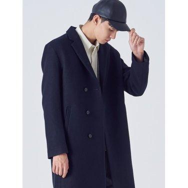 남성 네이비 울 블렌디드 히든 버튼 코트 (228X30SY1R)