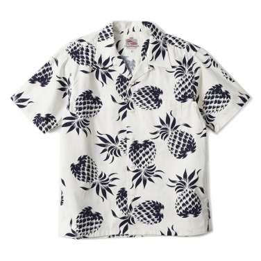 DUKE KAHANAMOKU Pineapple Cotton Open Shirt White