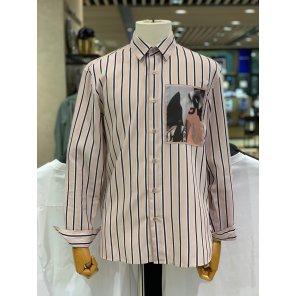 [CNN] 19SS 핑크 스트라이프 앞면 프린팅 세미오버핏 캐주얼셔츠 LFS31240