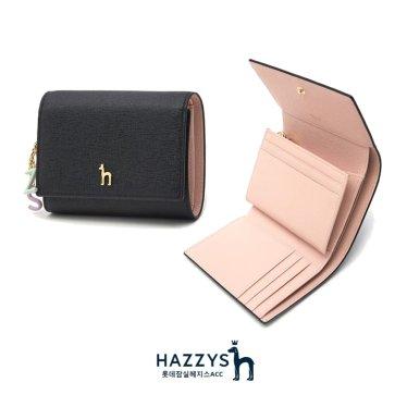 [선물포장]HIWA0E605BK_블랙 가죽 골드퍼피 로고 레터링장식 3단 반지갑