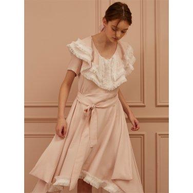 [까이에] Fringe Trimmed Asymmetric Cutout Dress