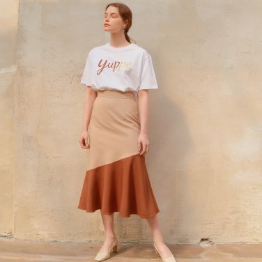 COLOR BLOCK FLARE SKIRT_BEIGE