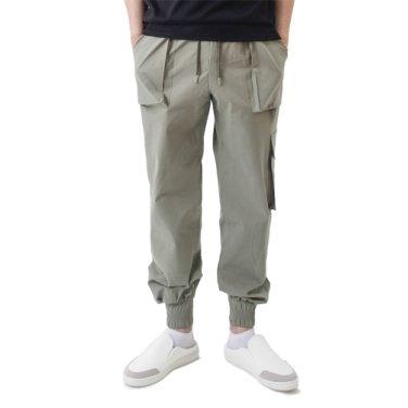(UNISEX) Easy Zip-up Cargo-Jogger Pants (KHAKI)