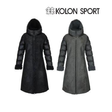 여성 페이크 무톤 미드 다운자켓 JKJDW18652