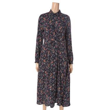 [여성]트위스트 웨이스트 패턴물 셔츠 원피스(T196MOP145W)