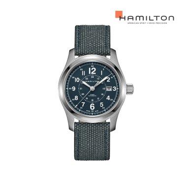 H70605943 카키 필드 오토 42mm 블루 / 그레이 캔버스 남성 시계