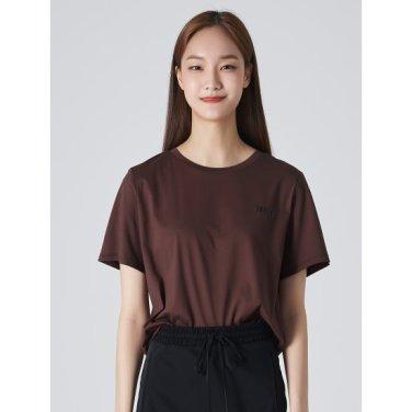 여성 브라운 코튼 포인트 레터링 프린팅 반소매 티셔츠 (119742BYCD)