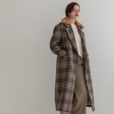 Fur Collar Wool Check Double Long Coat (2019WCT320_05)