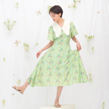 BUTTERFLY COLLAR DRESS - PEA GREEN
