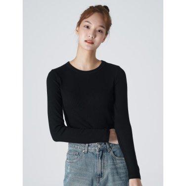 여성 블랙 솔리드 리브 슬림 티셔츠 (329841LY35)