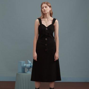 블랙 라운드 골드 버튼 슬립 드레스