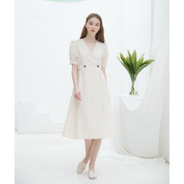 [클렛]Check Warp Button Dress (19CLETSM10E)