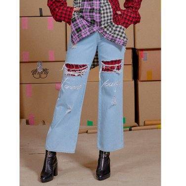 [아이아이] FOREVERYOUNG EMBROID CHECK DENIM PANT_L.BLUE(EEON3DPR03WE)