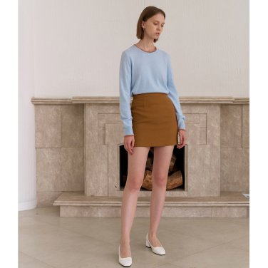 TWILL MINI SKIRT_BROWN