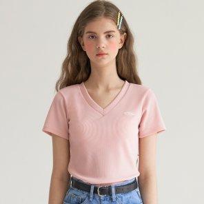 와플 브이넥 니트 탑 핑크(B2T01PK)