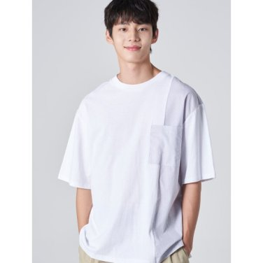 남성 화이트 코튼 절개 스트라이프 포켓 반소매 티셔츠 (269742EY81)