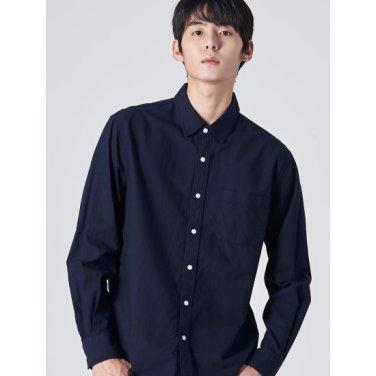 남성 네이비 솔리드 옥스퍼드 코튼 포켓 셔츠 (429764LY1R)
