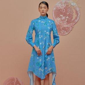Melting Down Scarf Dress-Vintage Blue