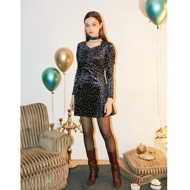[살롱드욘] Puff Shoulder Velvet Dress_ Navy (19FW217E)