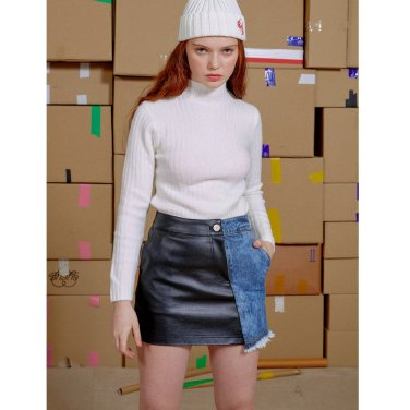 [아이아이] DENIM LEATHER COMBINATION SKIRT (EEON3SKR04WE)